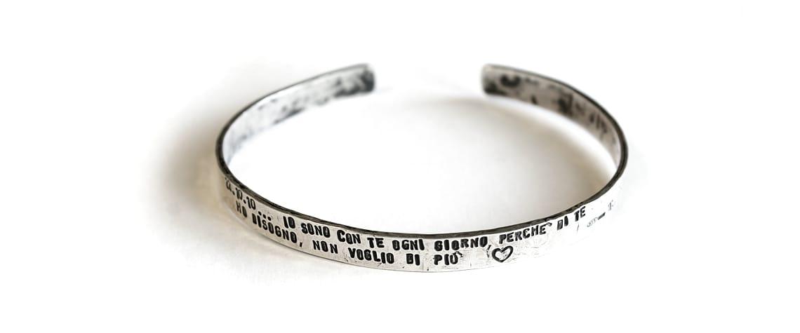Bracciale Mnemosine - Bracciale in argento 925 a fascia, largo 7 mm con possibilità di far incidere una frase